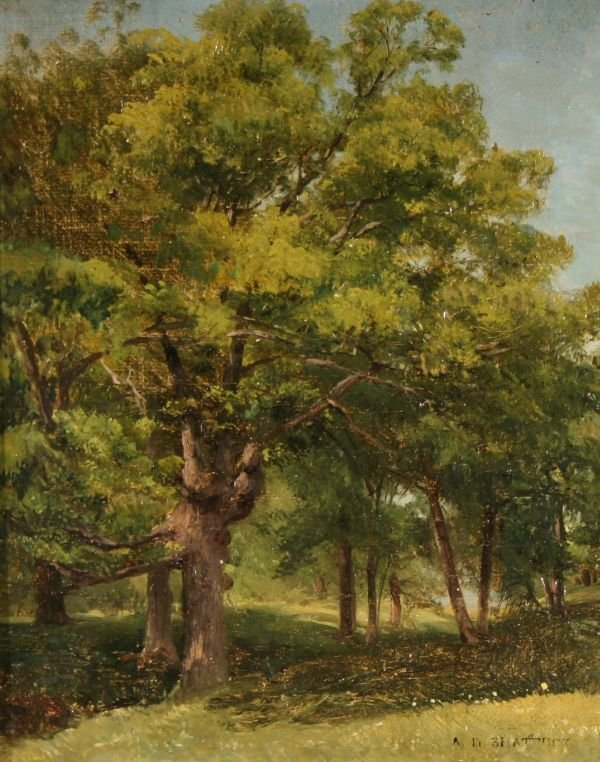 12: AARON SHATTUCK 1832-1928 American Oil Painting