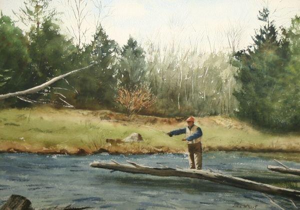 13: JOHN WHORF b1903 American Fly Fishing Painting