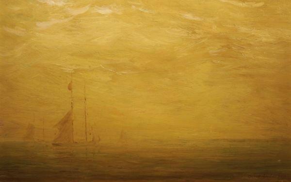 14: OSCAR ANDERSON b1873 Boston Harbor Oil Painting