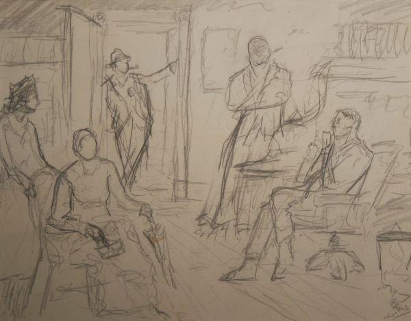 15: GEORGE LUKS b1867 American Drawing Exhibited