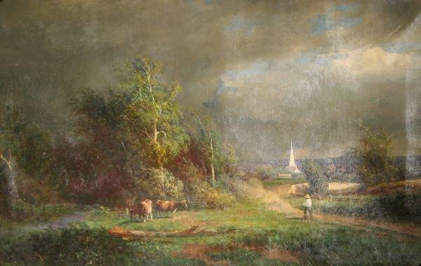 19: MID 19THC AMERICAN SCHOOL Antique Oil Painting