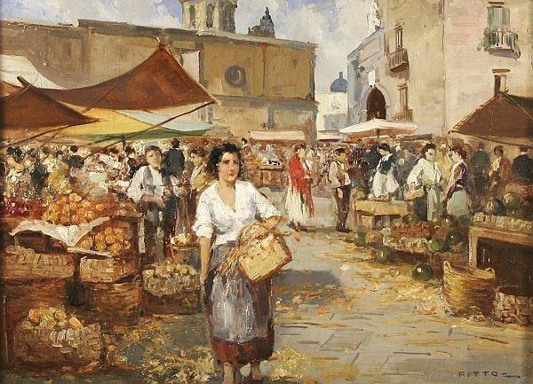 97: GIACOMO PITTO b1872 Italian Oil Painting Market