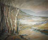 115: EMILE GRUPPE b1896 American Oil Painting Birches