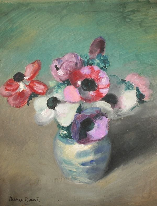 377: ALFRED DUNET b1889 French Painting Flowers