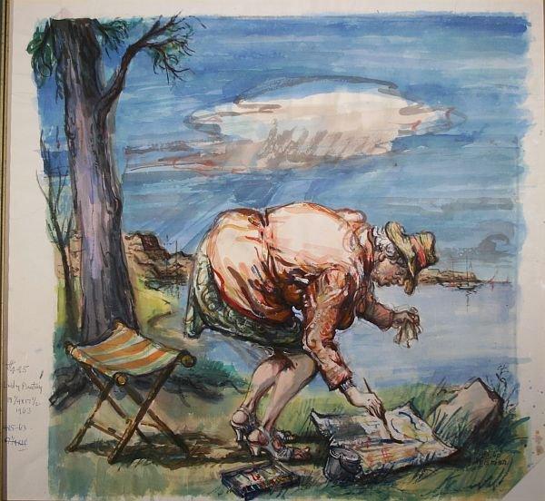 380: PHILIP REISMAN b1904 Watercolor Painting Rockport