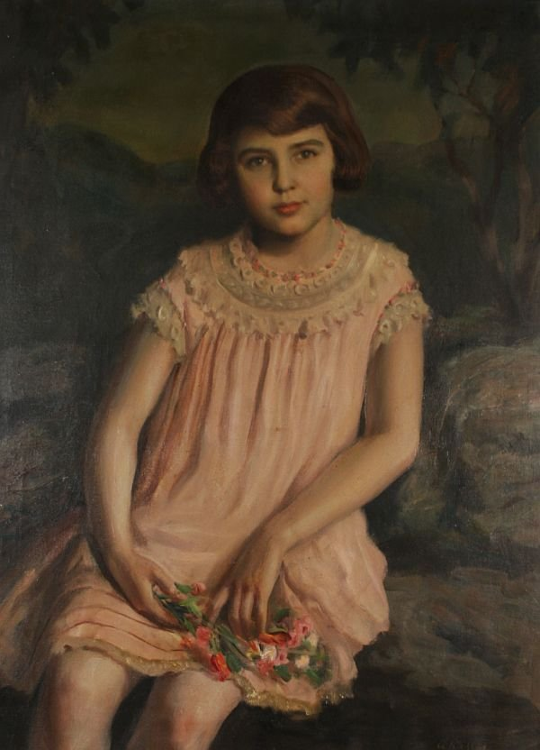 384: ARPAD KALLOS b1882 Hungarian Oil Painting of Girl