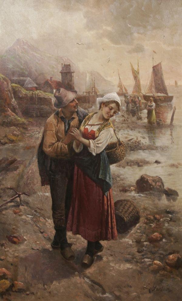 386: L. GARTNER Dutch Oil Painting Kissing is no Sin