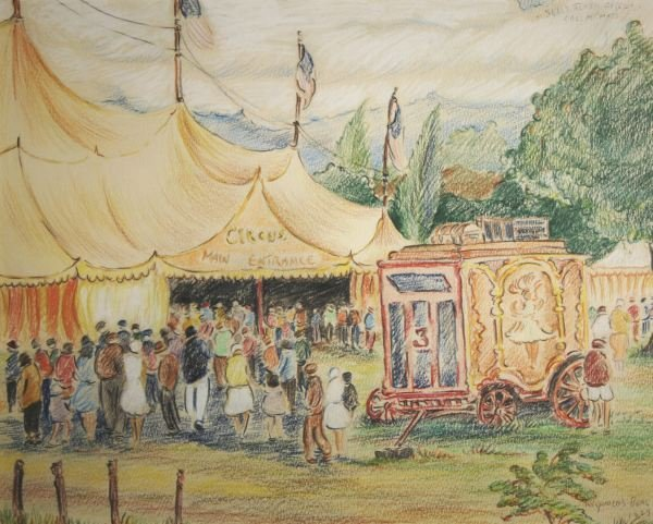 389: REYNOLDS BEAL b1867 Circus Painting Salem Mass