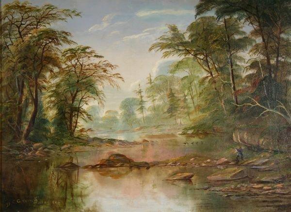 391: DANIEL GROSS 19THC Painting Duck Hunting Quebec