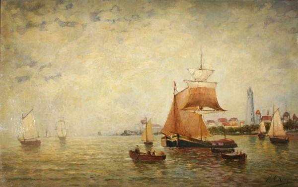 394: M. E. KING Oil Painting Harbor Ships