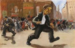 454: LOUIS RIBAK b1902 WPA Oil Painting 1930s Riot