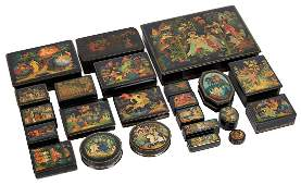 A GROUP OF 23 RUSSIAN LACQUER BOXES, PALEKH, 1936-1992