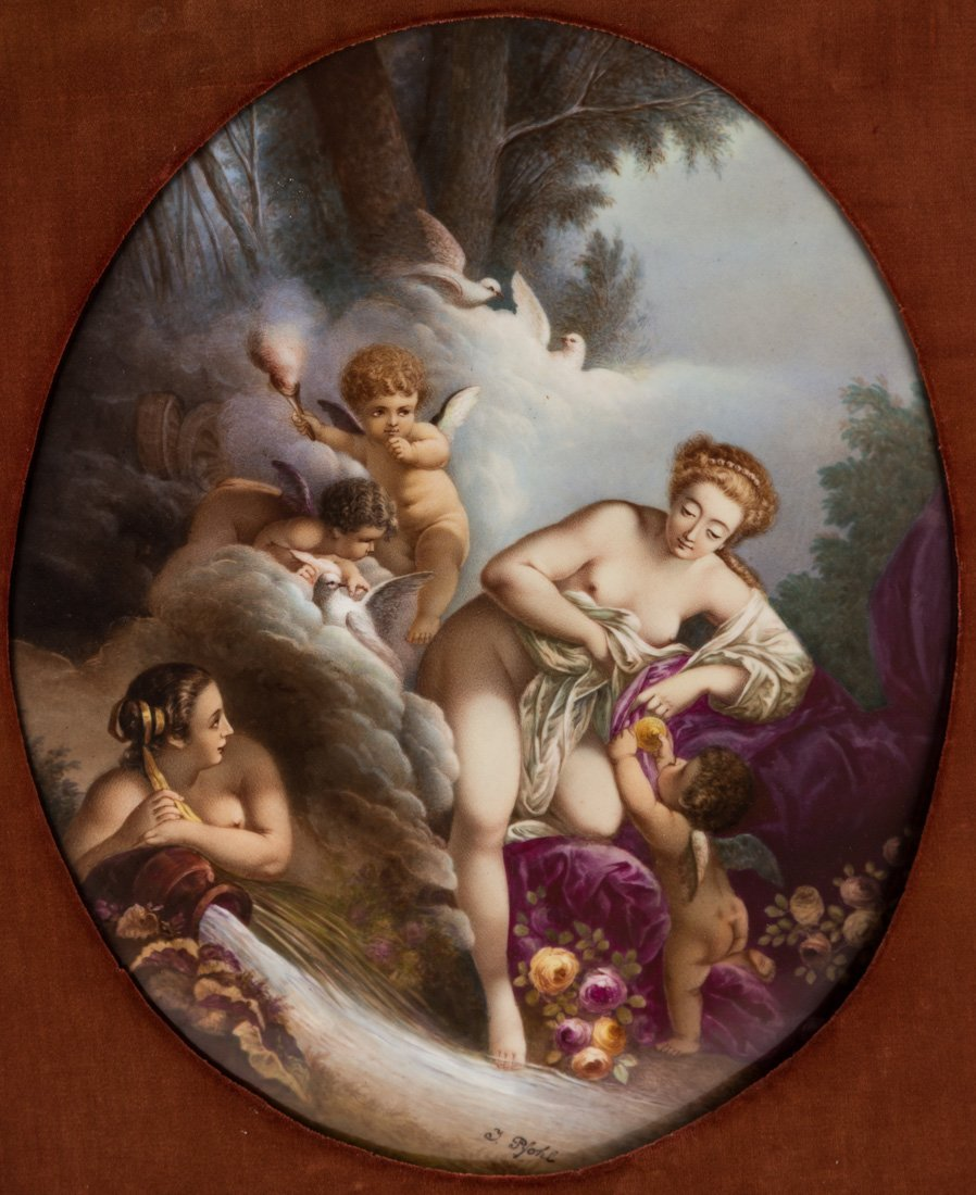 AN OVAL COLLN-MEISSEN PORCELAIN PLAQUE, 19TH CENTURY