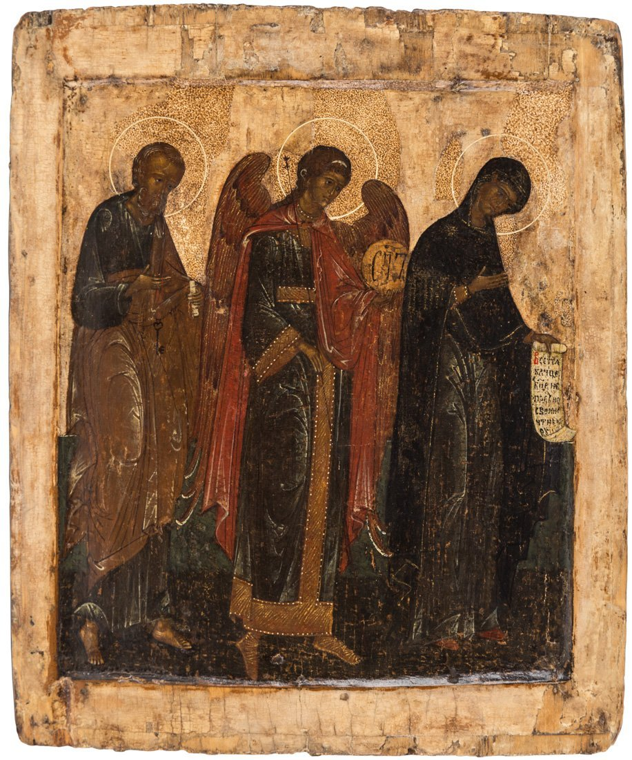 A RUSSIAN ICON OF SAINT PETER, ARCHANGEL MICHAEL AND