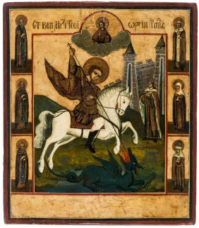 A Russian Icon Of Saint George Slaying The Dragon, 18th