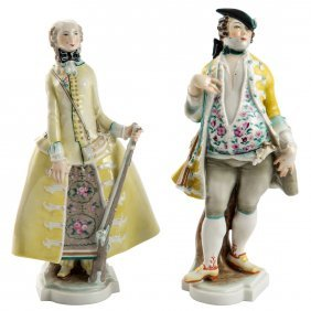 A Pair Of Porcelain Figures Of Hunters, Schwarzburger,