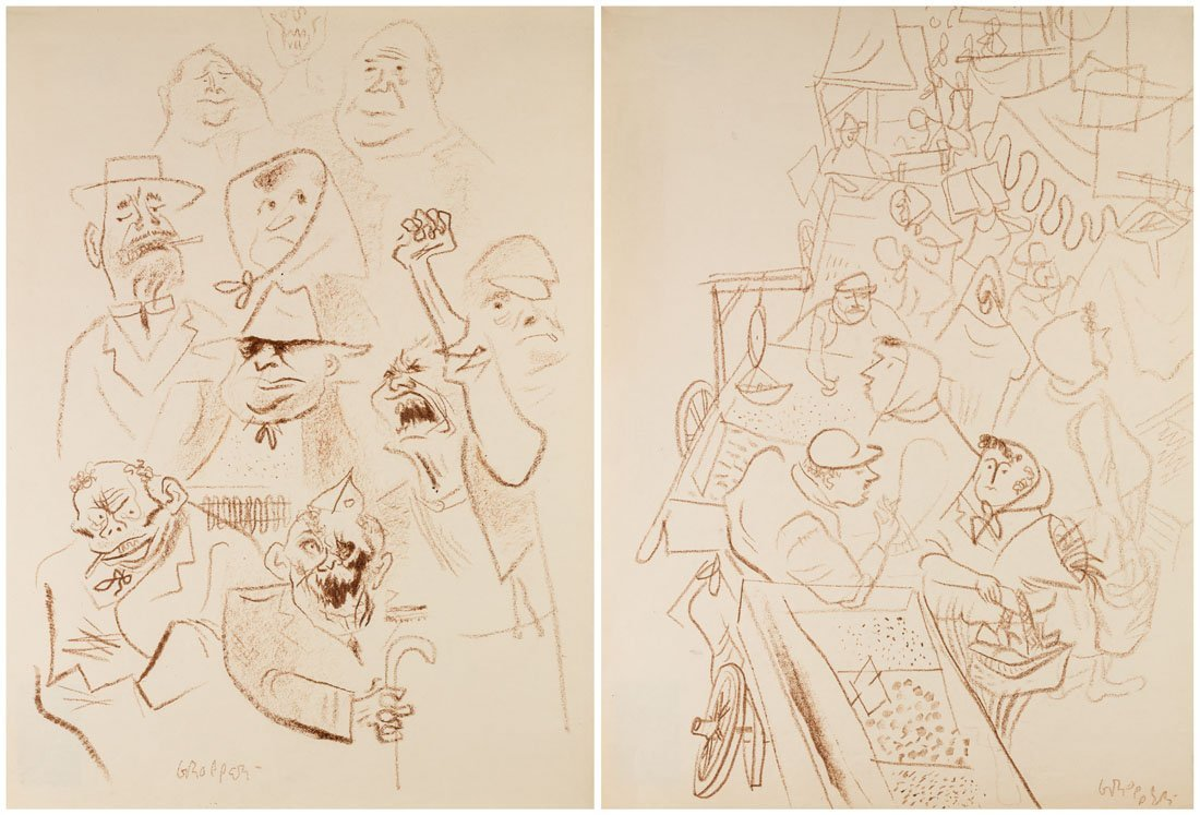 A PAIR OF DRAWINGS BY WILLIAM GROPPER (AMERICAN