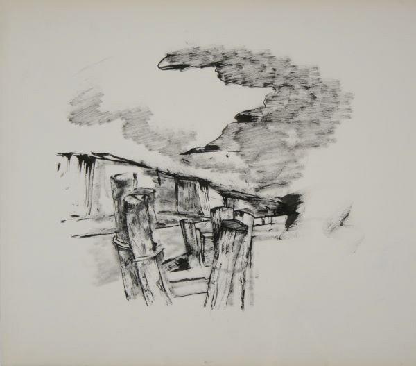 140: JOHN HELIKER B1909 Pier Drawing NYC ASL