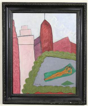 281: ABRAHAM WALKOWITZ Oil Painting Nude w Provenance