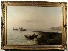 1176: GUSTAVE DEBREANSKI British Marine Oil Painting