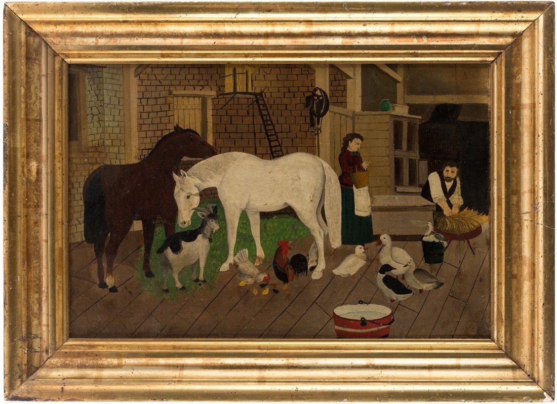 AMERICAN PRIMITIVE BARNYARD SCENE, 19TH CENTURY - 2