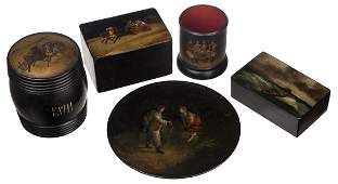 A GROUP OF FIVE ANTIQUE RUSSIAN LACQUERWARE ITEMS,