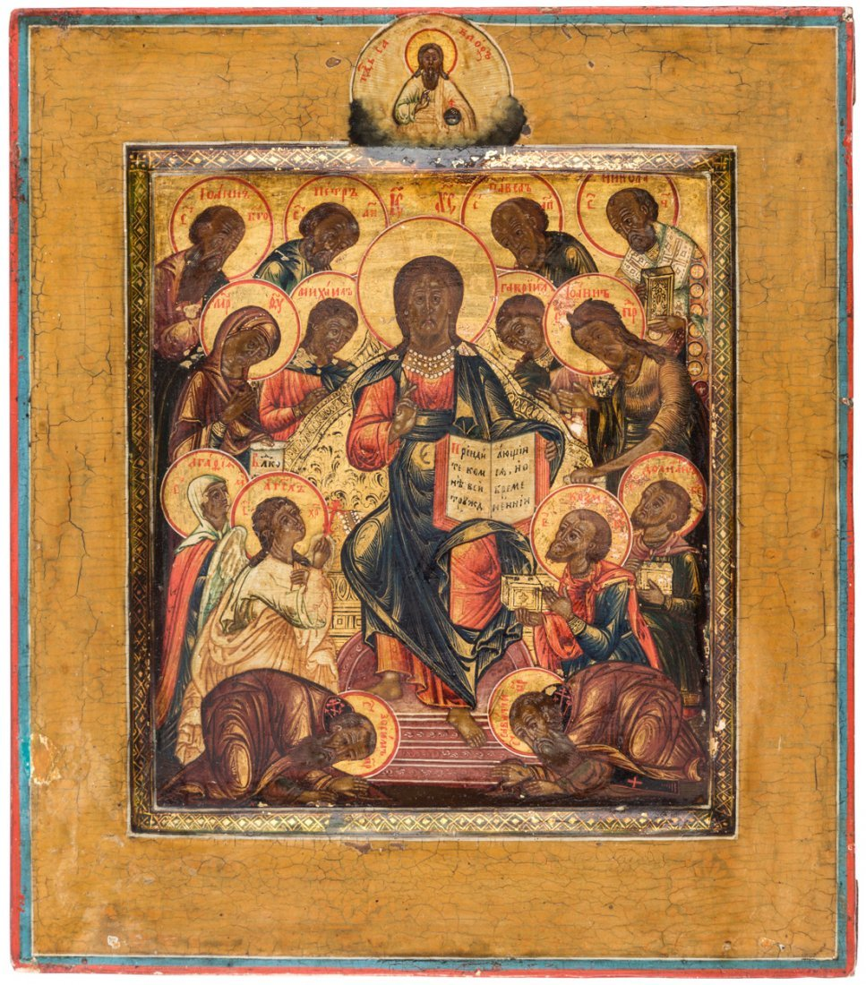 A RUSSIAN ICON OF CHRIST AND THE APOSTLES, 19TH CENTURY