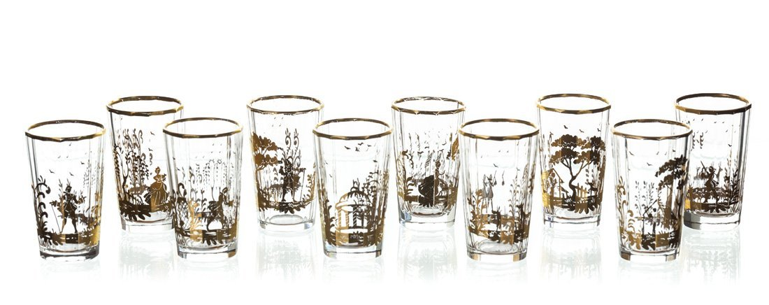 A SET OF TEN SHOT GLASSES, AFTER A POTEMKIN GLASS