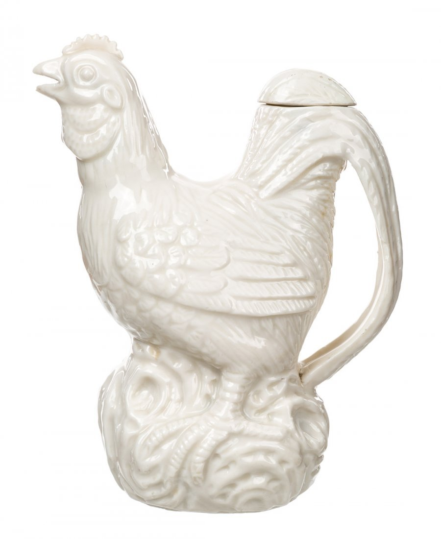 A BLANC-DE-CHINE EWER IN THE FORM OF A CHICKEN