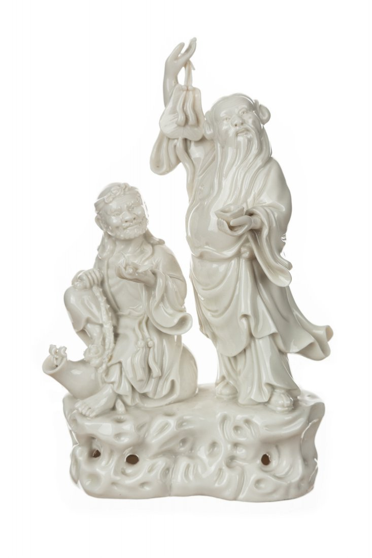 A GROUP OF THREE BLANC-DE-CHINE FIGURES - 3