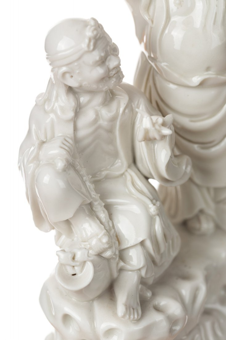 A GROUP OF THREE BLANC-DE-CHINE FIGURES - 5