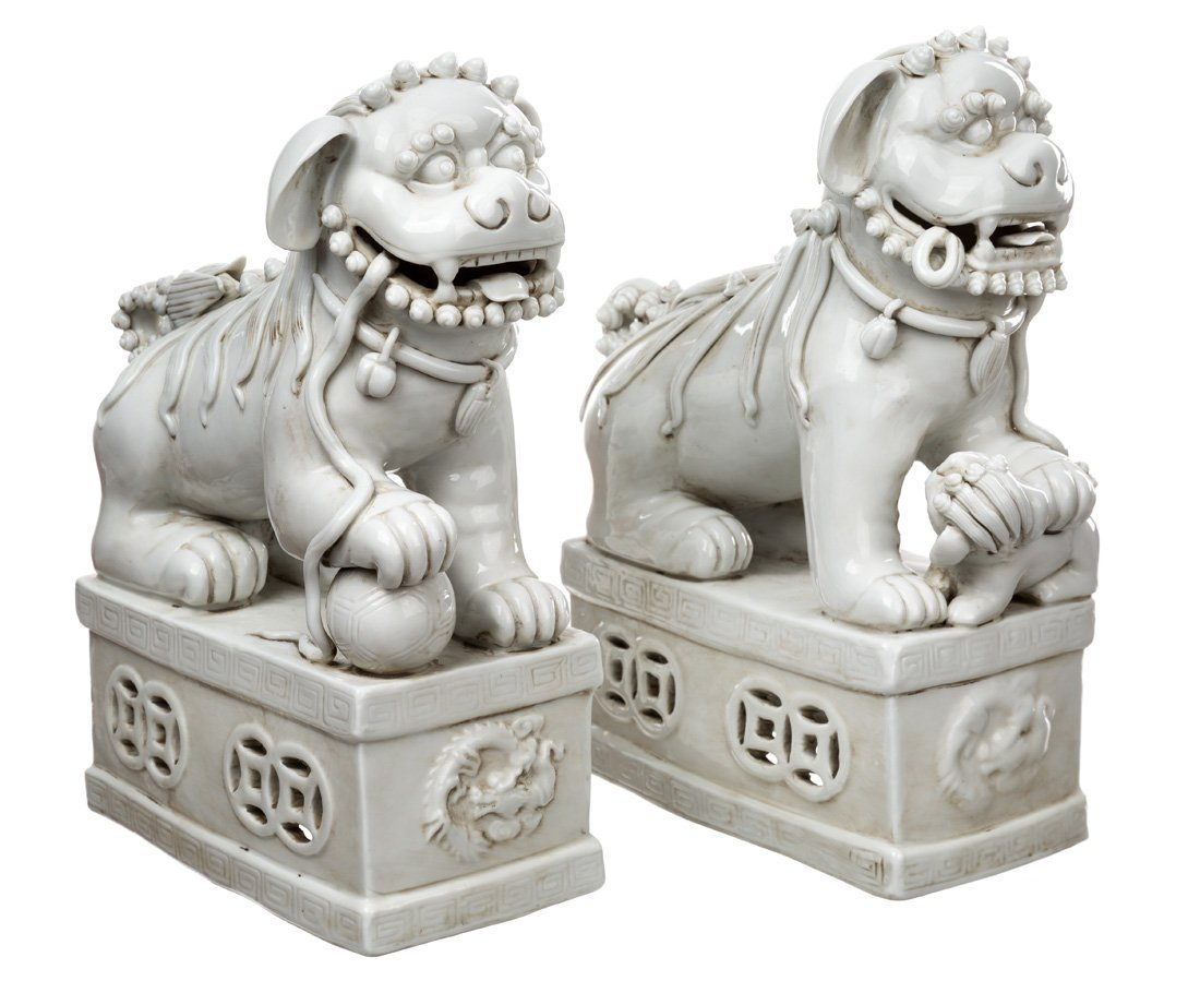 A GROUP FEATURING TWO PAIRS OF BLANC-DE-CHINE LIONS - 3