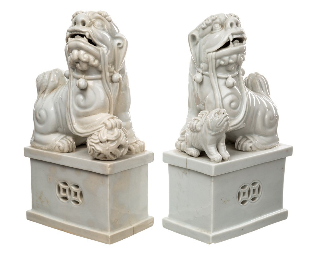 A GROUP FEATURING TWO PAIRS OF BLANC-DE-CHINE LIONS - 4