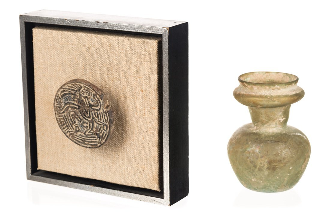 A PAIR OF ANTIQUITIES INCLUDING A GLASS JAR AND AN