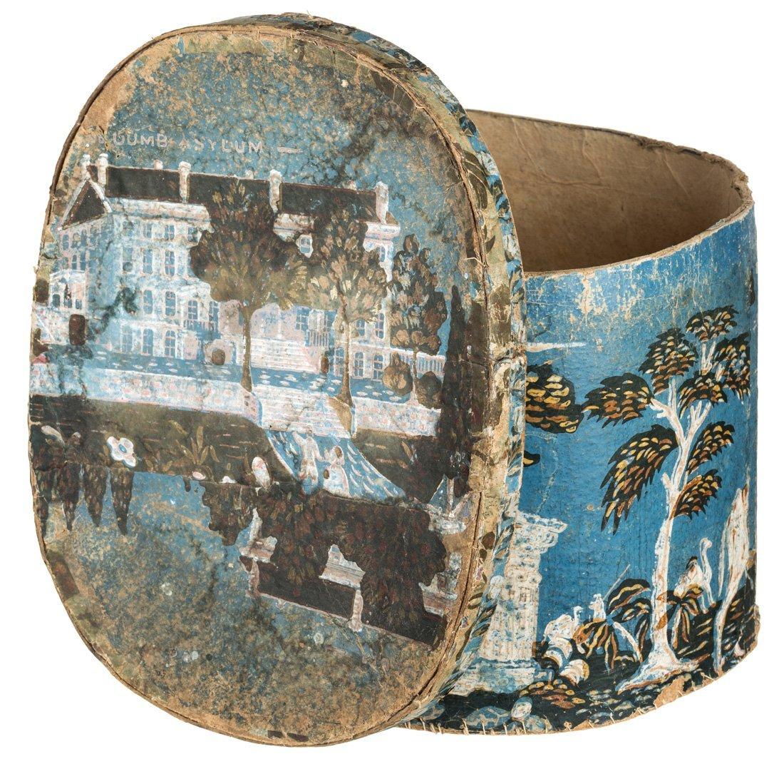 AMERICAN 19TH CENTURY OUTSIDER ART HATBOX FEATURING