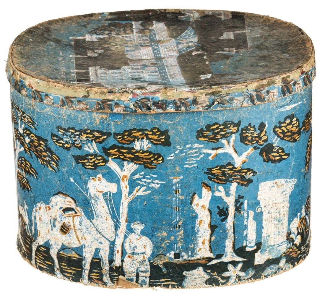 AMERICAN 19TH CENTURY OUTSIDER ART HATBOX FEATURING - 2