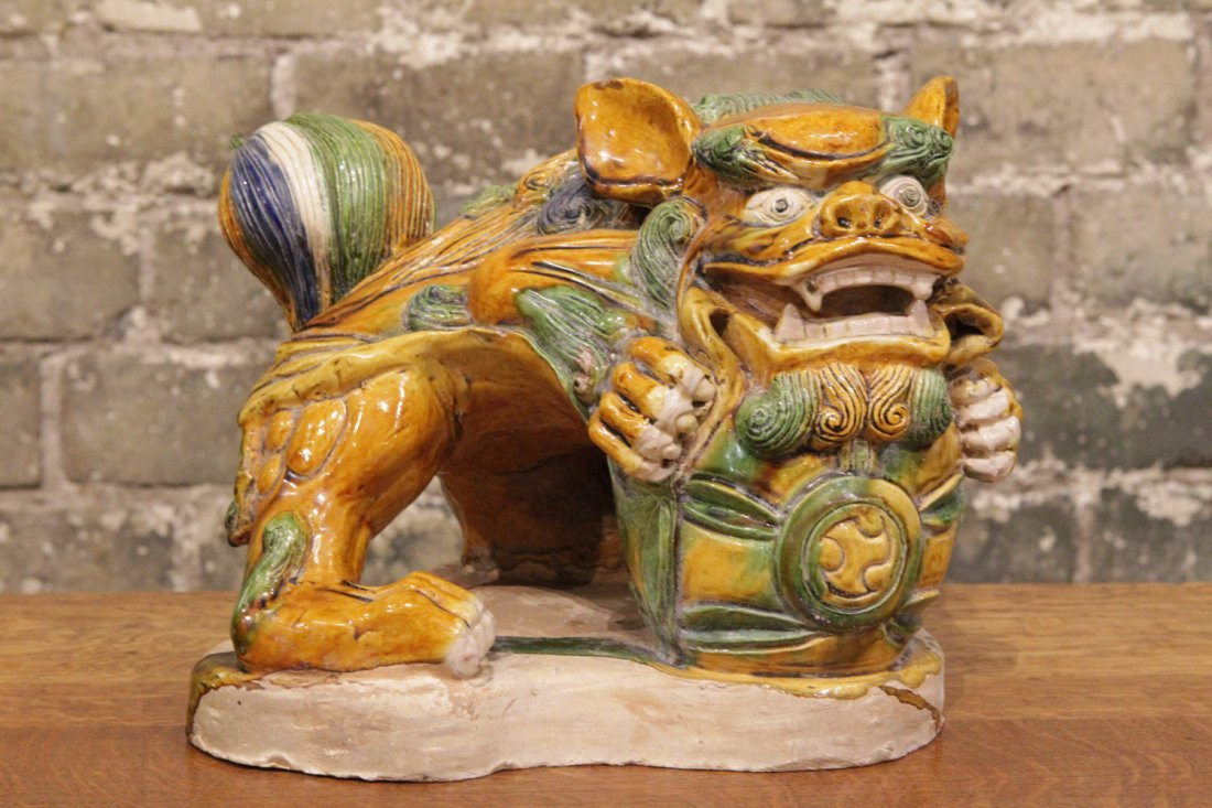 CHINESE POTTERY CARVED SANCAI FOO DOG