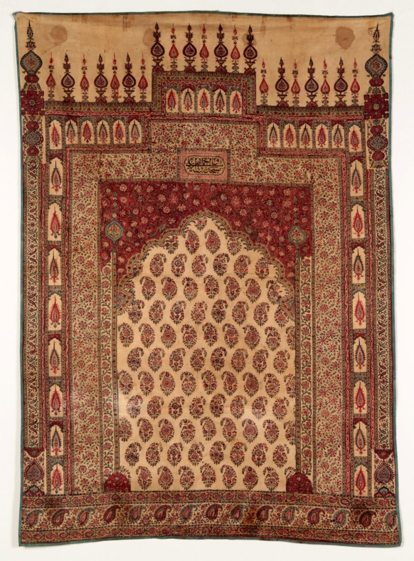 Persian Kalamkari block print prayer rug 19th century