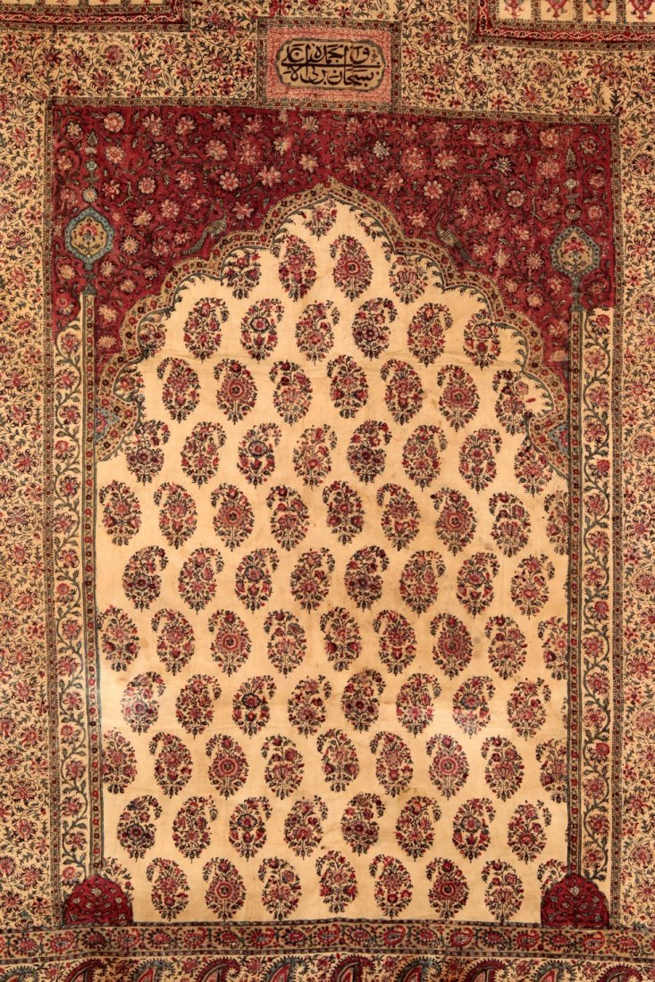 Persian Kalamkari block print prayer rug 19th century - 2