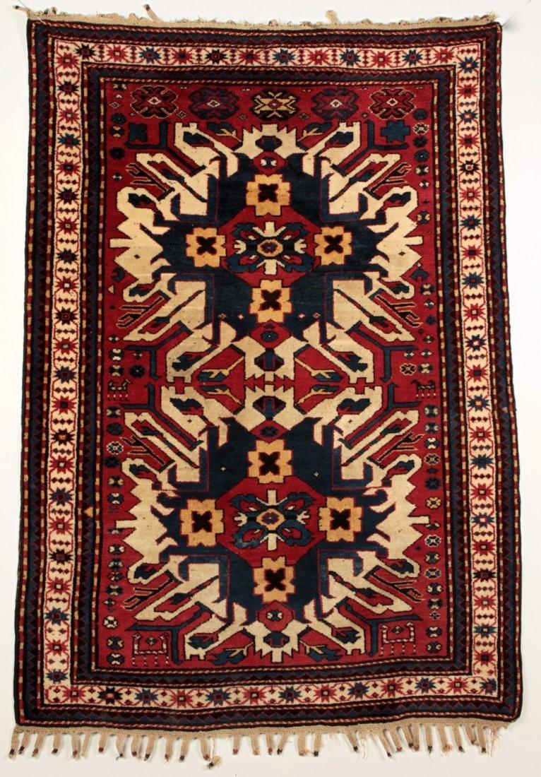 Fine Tribal Antique Caucasian Eagle Kazak Rug