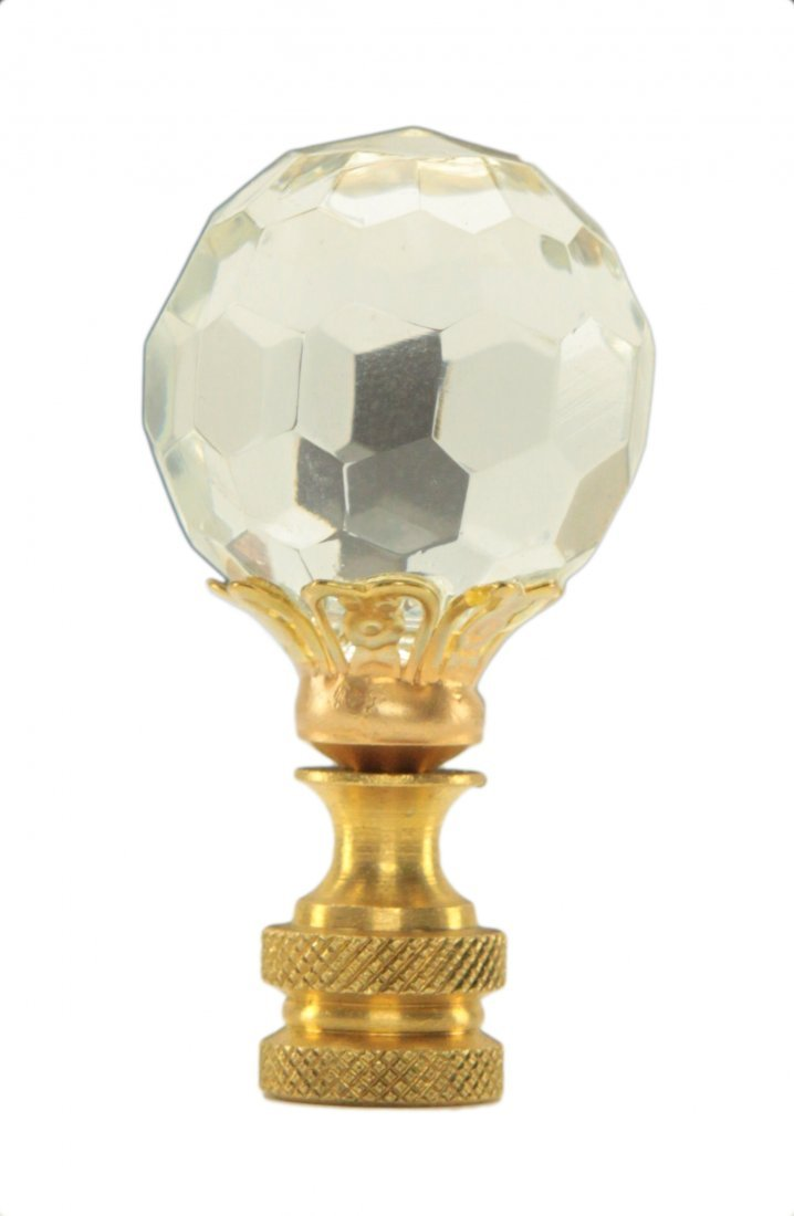 Round Crystal Lamp Finial with Brass Base