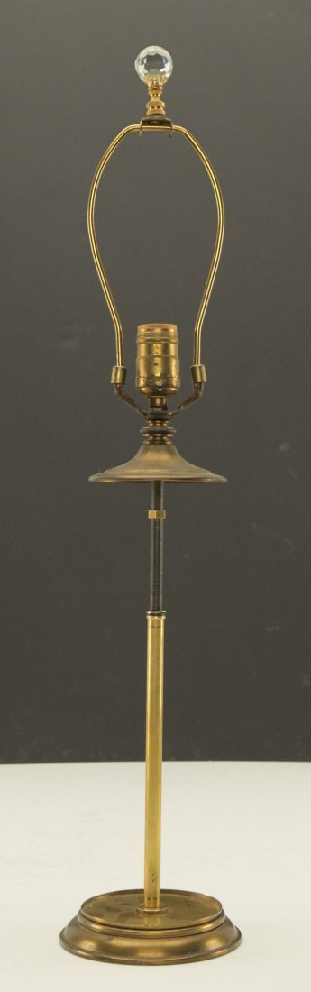 Round Crystal Lamp Finial with Brass Base - 3