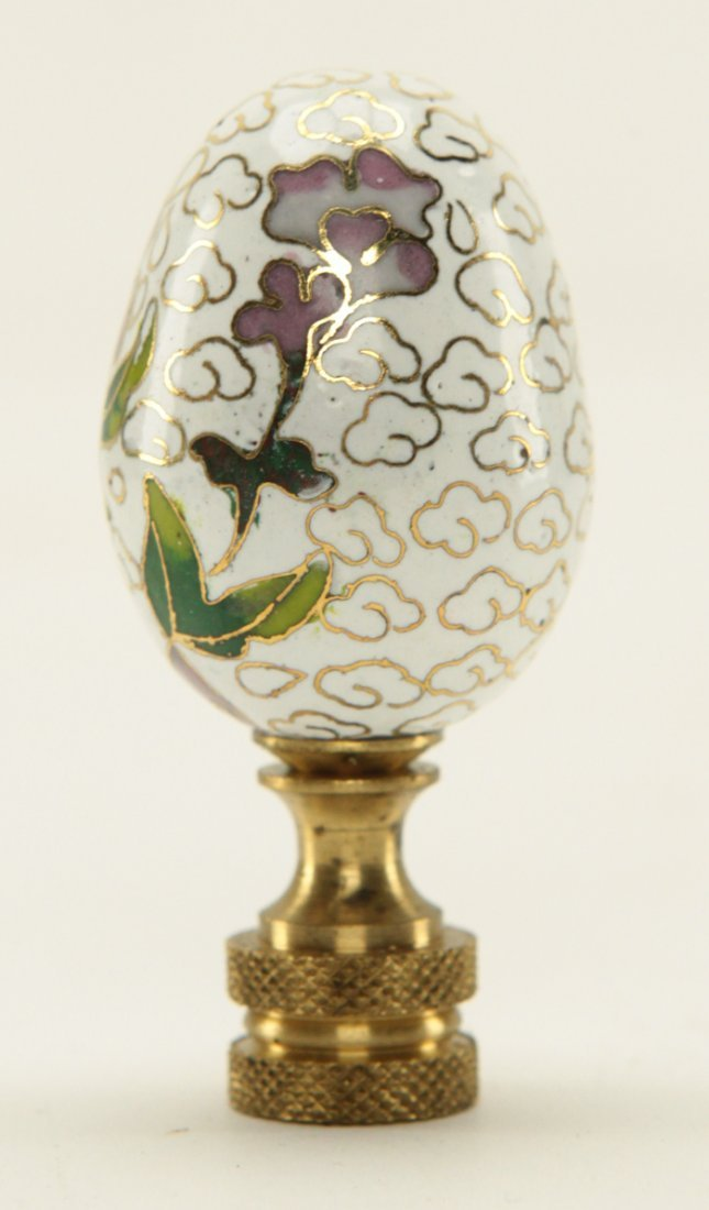Chinese Cloisonne Egg Shape Lamp Finial - 2