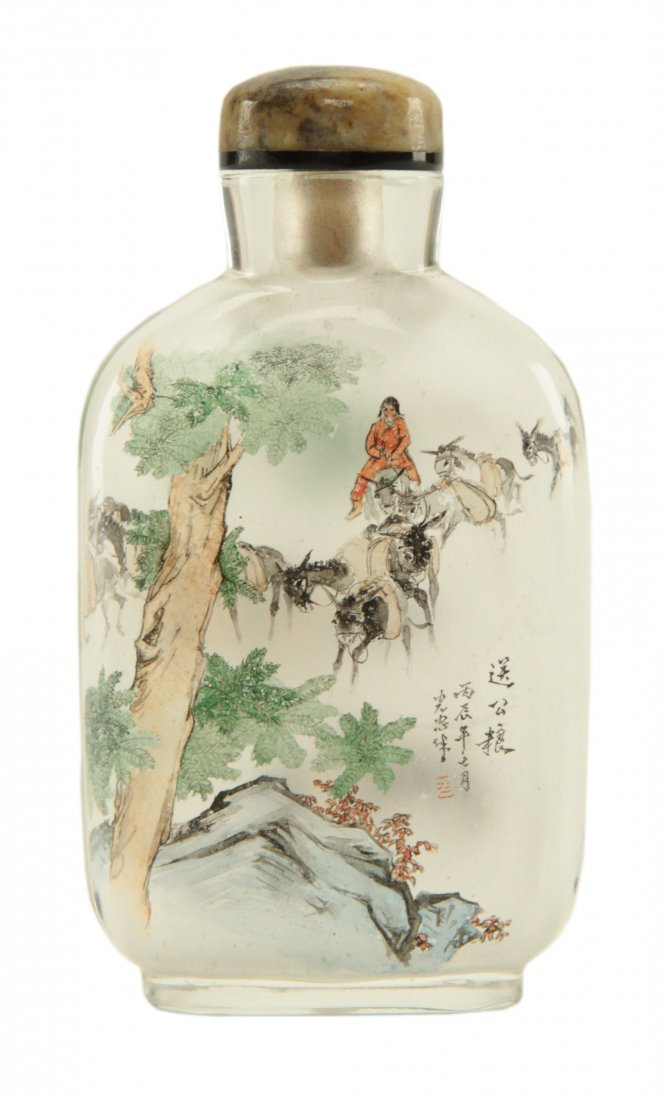 Chinese Clear Glass Painted Inside Snuff Bottle