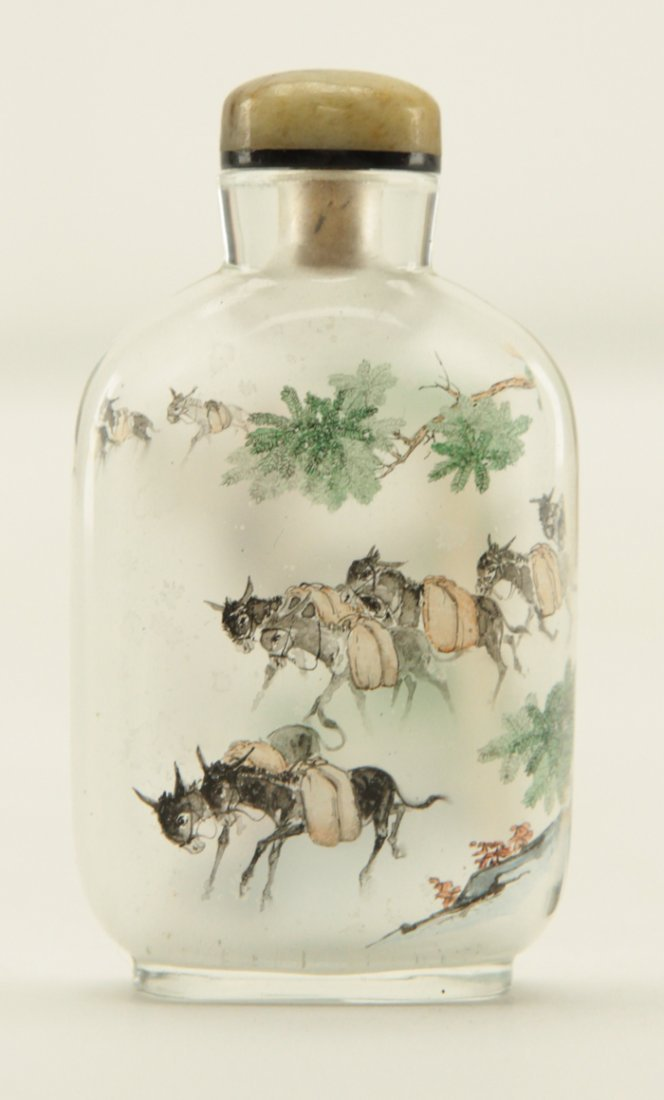 Chinese Clear Glass Painted Inside Snuff Bottle - 3