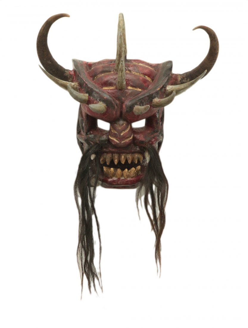Hand Made Mask w/Real Horse Hair and Bull Horns