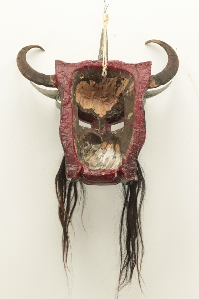 Hand Made Mask w/Real Horse Hair and Bull Horns - 2