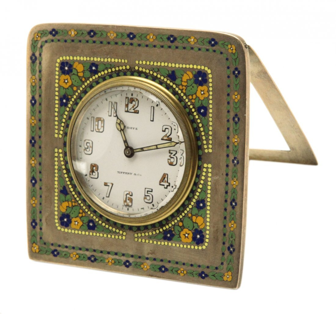 Antique Tiffany Silver and Enamel Travel Clock