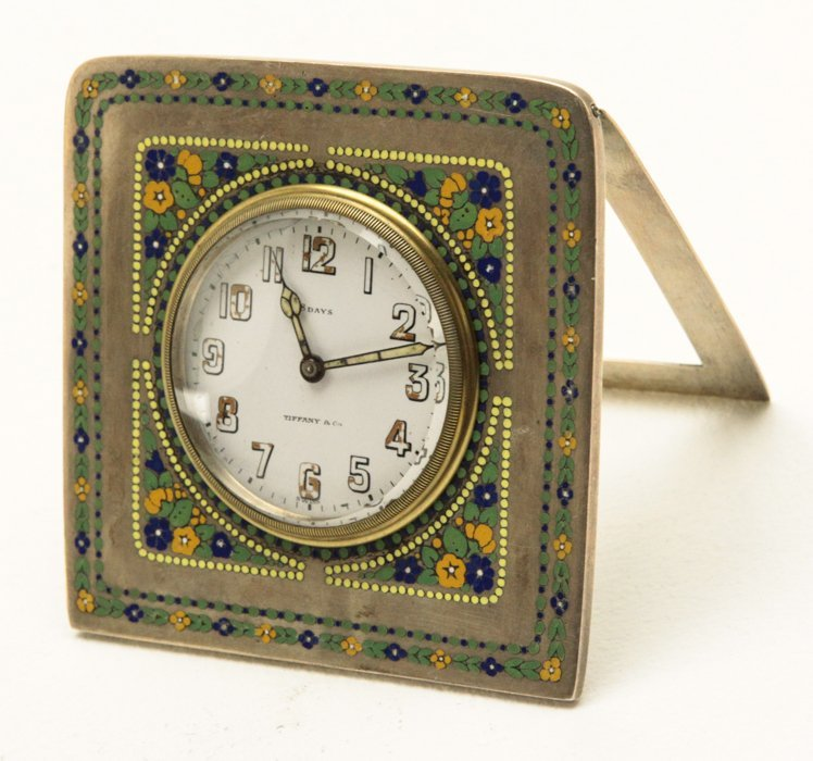 Antique Tiffany Silver and Enamel Travel Clock - 2