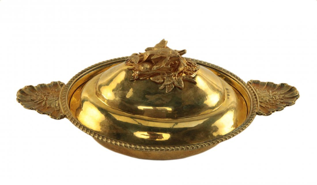 Sterling Silver Gilted Entree Dish and Fish Cover